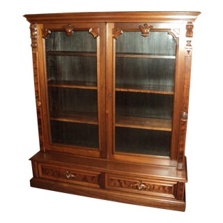 Antique Victorian Walnut 2 Door Bookcase For Sale