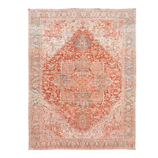 Early 20th Century Antique Distrssed Heriz Wool Oversize Rug For Sale