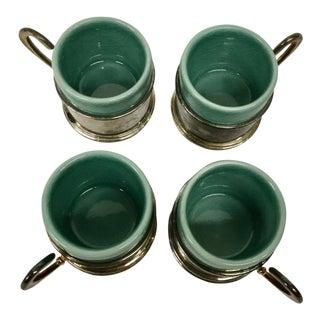 1960s Vintage Silver Plate & Porcelain Demitasse Cups- Set of 4 For Sale