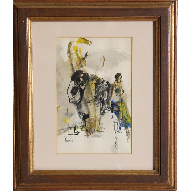Gino Hollander, Untitled - Standing Figures, Acrylic and Mixed Media on Paper, Signed and Dated For Sale