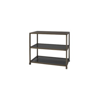 Contemporary Glass, Metal and Walnut Side Table For Sale