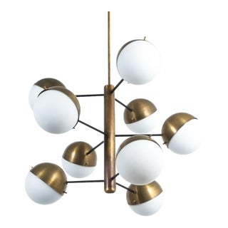 Stilnovo Mid Century Brass Opaline Glass Chandelier, Italy For Sale