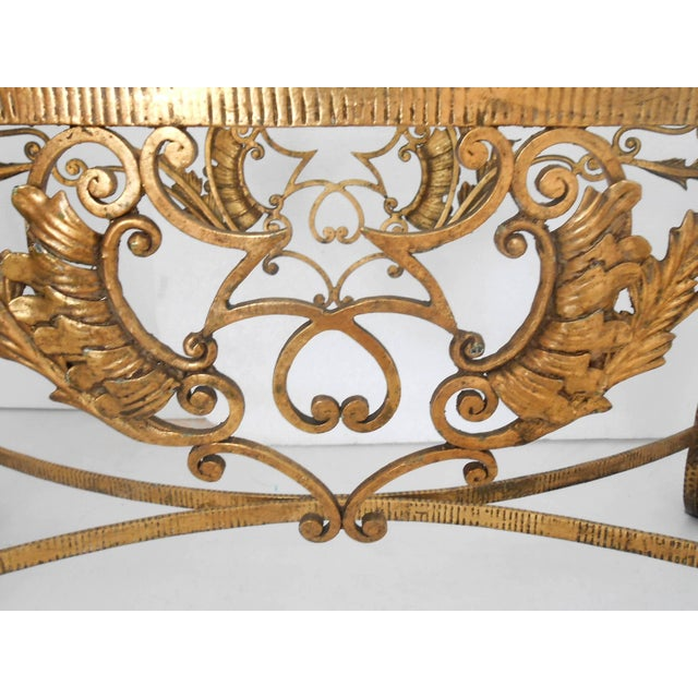 Italian gilt wrought iron coffee table by Pier Luigi Colli for Cristal Arte. / Made in Italy in the 1950's. Length: 43.5...