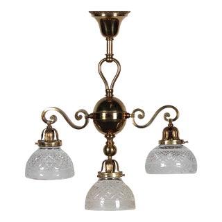 Antique Brass 3-Lamp Ceiling Fixture