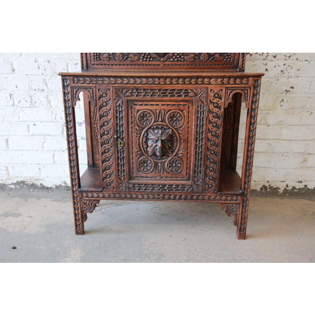 19th Century English Ornate Carved Oak Sideboard Bar Cabinet For Sale - Image 4 of 13