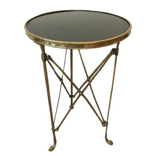 English Traditional Global Views Brass and Granite Side Table