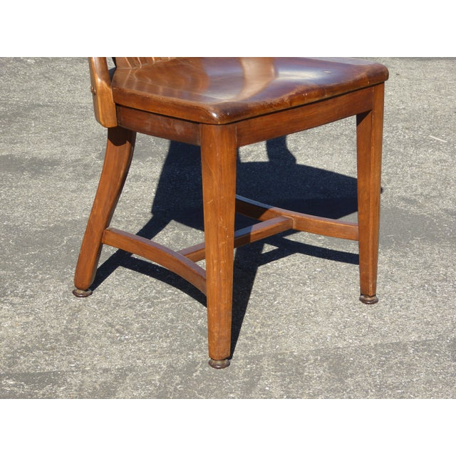 Set of 4 Vintage Mid-Century Brown Solid Wood Farmhouse Chic Library School House Chairs - Image 10 of 11