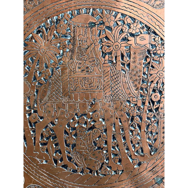 "Vintage Huge 30"" Copper Wall Decor Mid-Eastern Art Tray For Sale - Image 4 of 7"