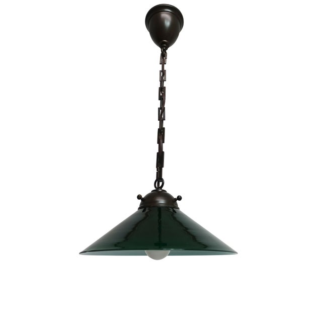 Antique Emeralite Green Encased Glass Pendant Light Fixture For Sale - Image 10 of 10