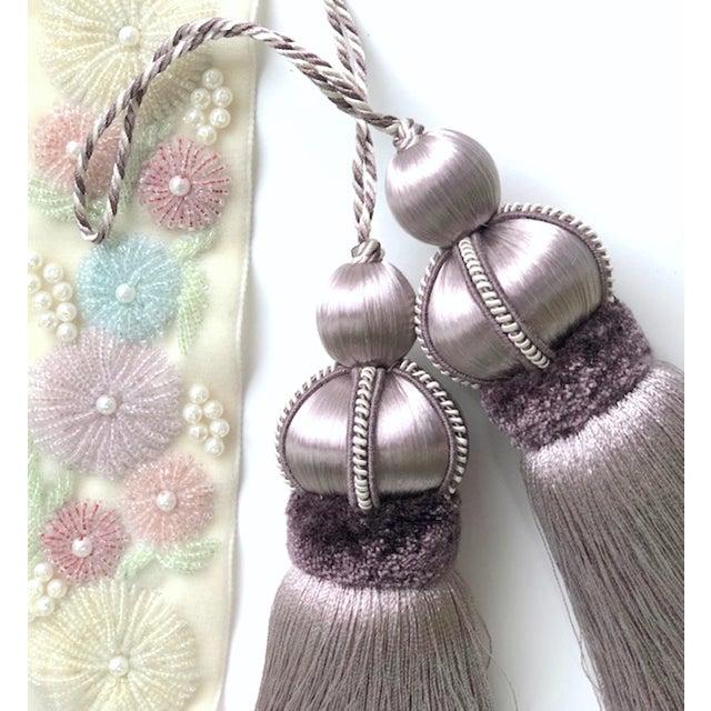 Lavender Lavender Key Tassel With Cut Velvet Ruche - a Pair For Sale - Image 8 of 12