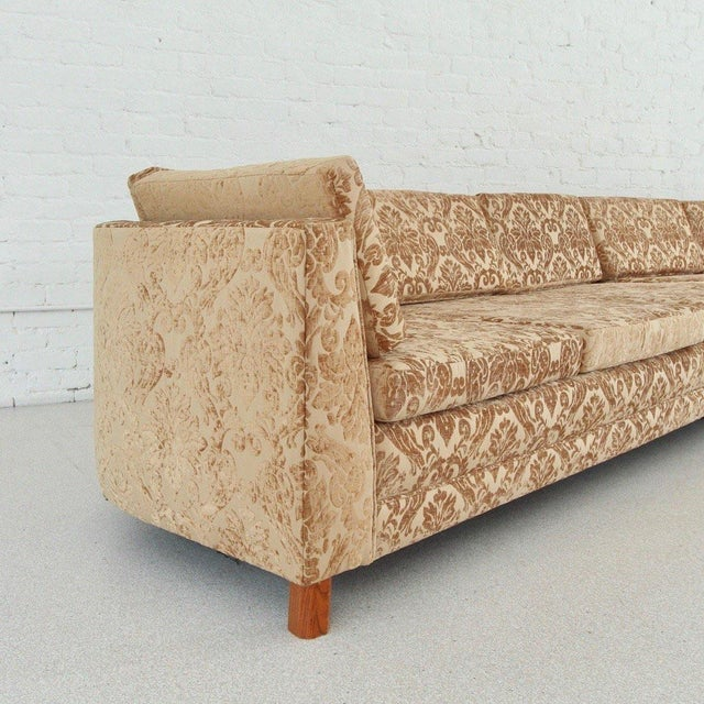 Mid Century Newly Upholstered Damask Sofa For Sale - Image 4 of 6