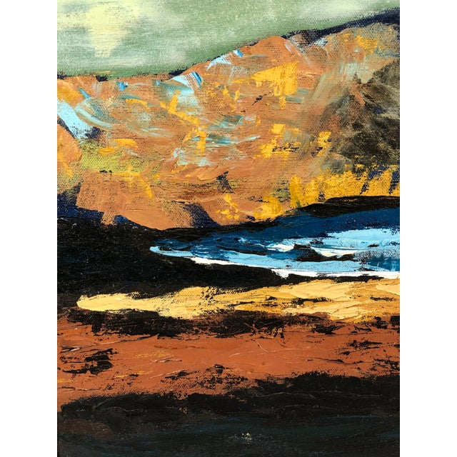 Mid-Century Modern 1960s Oil on Canvas Ships on Shoreline Signed Carrie For Sale - Image 3 of 7