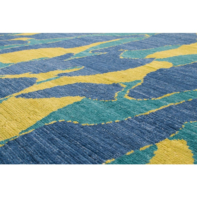 Carini Blue and Chartreuse Camouflage Print Area Rug - 8′ × 10′ For Sale In New York - Image 6 of 7