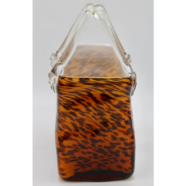 Murano Mid Century Modern Tortoise Shell Glass Purse Cachepot / Vase For Sale - Image 4 of 9