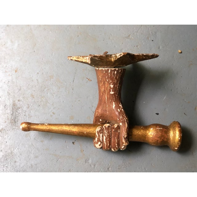 Paint Italian Wooden Carved and Gilded Hand Sconce For Sale - Image 7 of 12