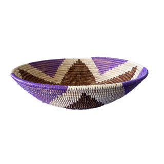 "Lg Handmade Woven Wolof Basket From Senegal 17"" in Diameter For Sale"