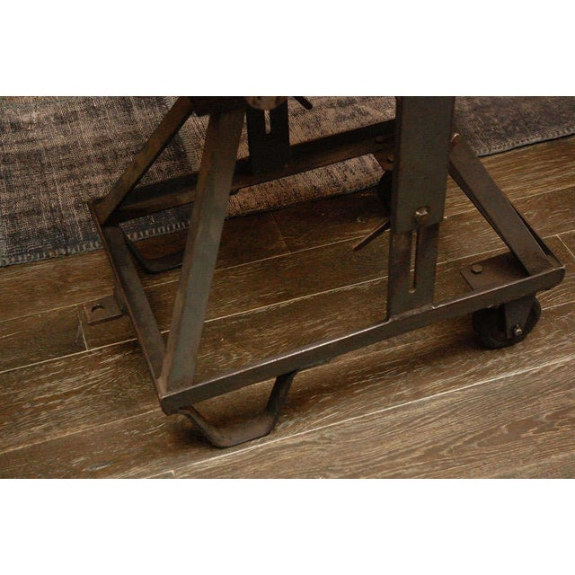 An Iron Adjustable Industrial Scissor Table For Sale In Los Angeles - Image 6 of 9