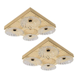 Pair of Mid-Century Modern Flush Mount with Bobeche Glass Shades For Sale