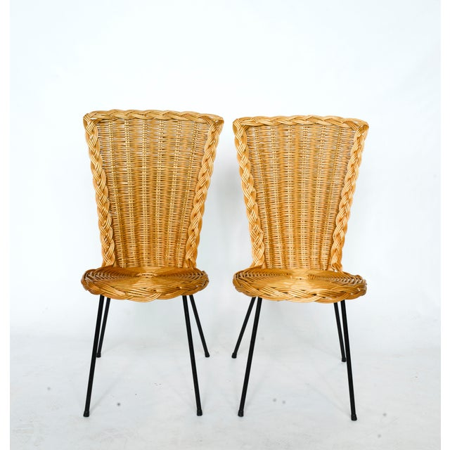 Vintage French Rattan Chairs on Metal Legs - a Pair For Sale In Chicago - Image 6 of 7