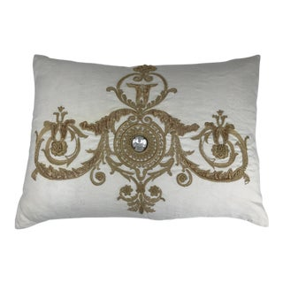 Callisto Home Gold Velvet Embroidery and Rhinestone Detail White Linen Pillow For Sale