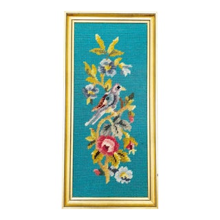 Vintage Blue Bird Cross Stitch Wall Hanging For Sale