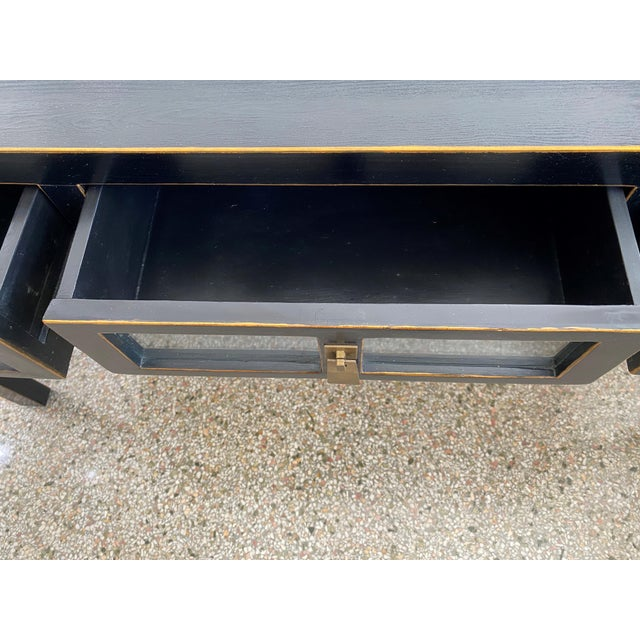 Ebonized Three-Drawer Console Table For Sale - Image 4 of 13