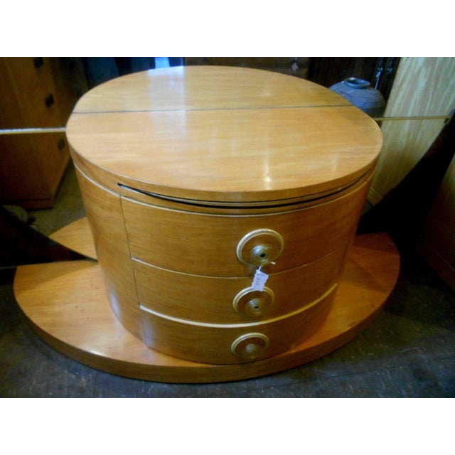 Wood 1930's Vintage Art Deco Vanity Table With Moon Mirror For Sale - Image 7 of 10