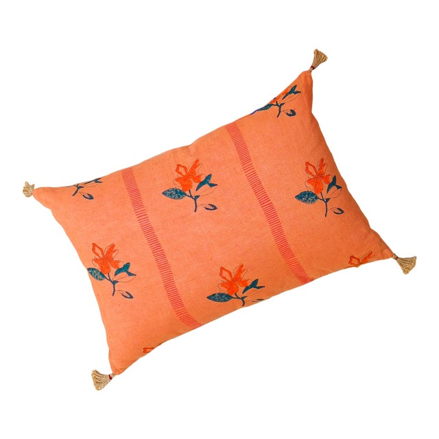 Nina Handwoven & Block-Printed Linen Pillow With Insert For Sale