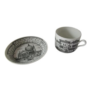 Fornasetti Cup & Small Plate- Grand Canal For Sale