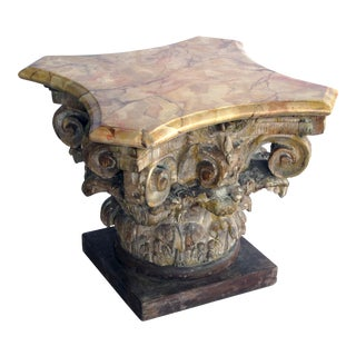 From the Tony Duquette Collection a Well-Carved Italian Neoclassical Corinthian Capital With Faux Marble Top For Sale