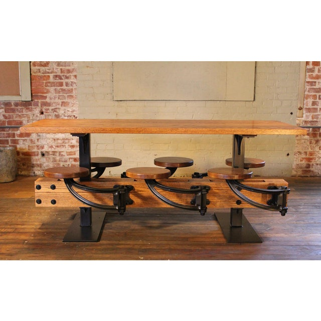 Get Back, Inc. Industrial Swing-Out-Seat Cafe Table For Sale - Image 4 of 9