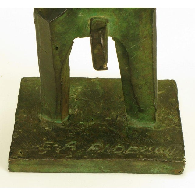 Pair Bronze Male & Female Abstract Sculptures, Signed. - Image 10 of 10