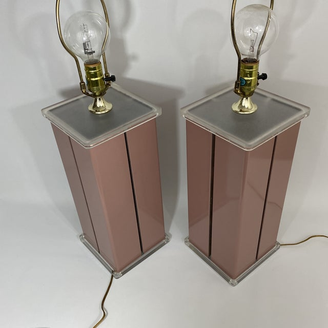 1980s Optique Mauve Lacquered Metal and Lucite Lamps- a Pair For Sale - Image 10 of 11