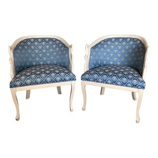Italian Carved Bergere Chairs - A Pair