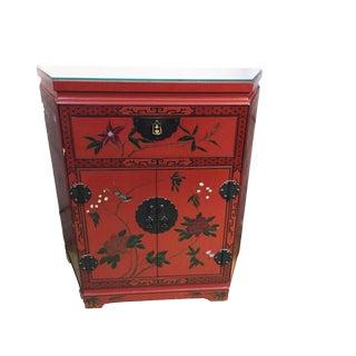 Vtg Asian Red Cabinet W/ Floral Design