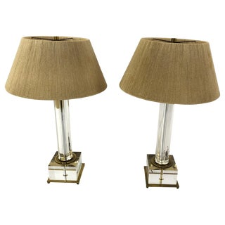 Sensational Pair of Mid-Century Modern Lucite and Brass Lamps For Sale