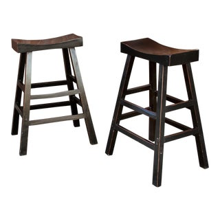 Asian Tall Stools, Pair For Sale