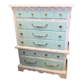 Vintage Shabby Chic Two Tone Chest of Drawers For Sale