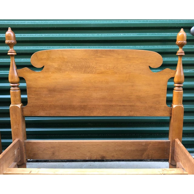 Solid Maple Vintage Acorn Top Twin Beds- a Pair For Sale - Image 4 of 13