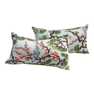 Asian Bird Pillows - A Pair