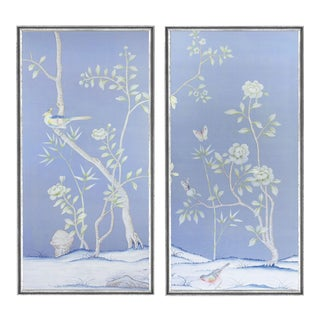 "Jardins en Fleur ""Furness"" Chinoiserie Hand-Painted Silk Diptych by Simon Paul Scott in Italian Silver Frame - a Pair For Sale"