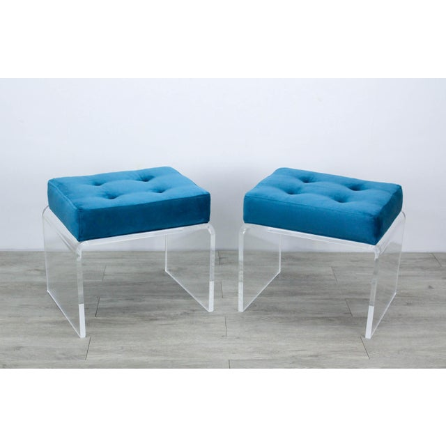 Pair of Teal Waterfall Lucite & Velvet Benches For Sale - Image 4 of 7