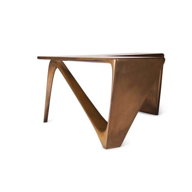 Amorph Astra Desk, L Shaped Desk Gold Finish For Sale In Los Angeles - Image 6 of 8