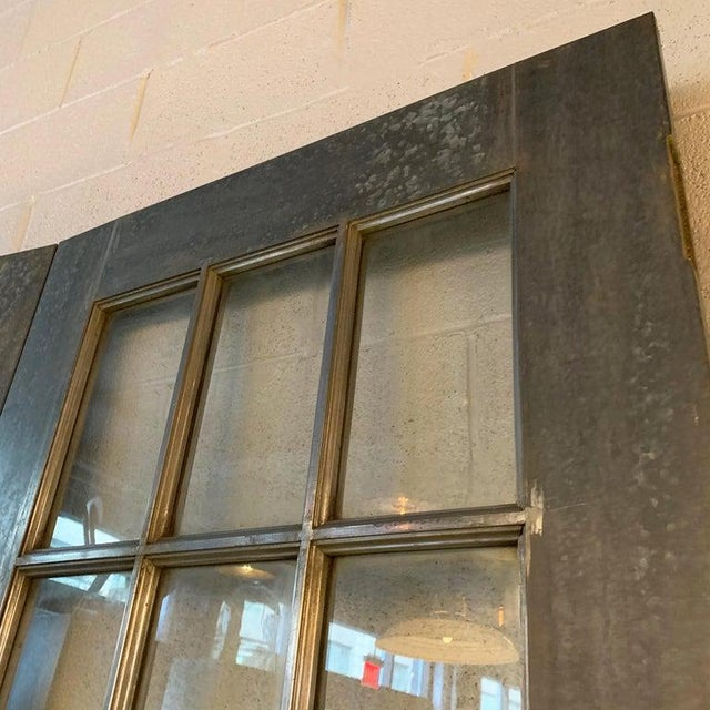 Gray Industrial Tall Brushed Steel and Glass Doors For Sale - Image 8 of 12
