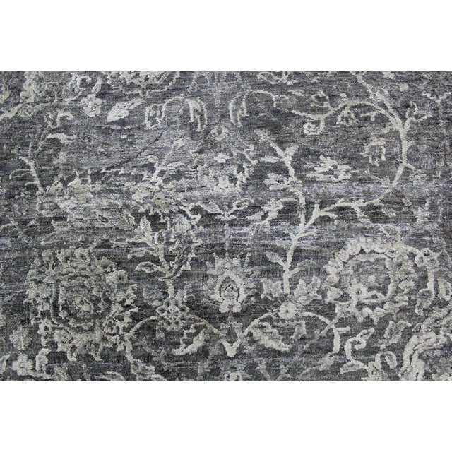 Transitional Bryant Gray/Charcoal hand knotted Wool/Viscose/Cotton Rug - 8'x10' For Sale - Image 3 of 7