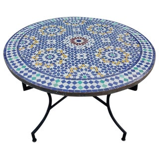 Moroccan Mosaic Table in Multi-Color Beldia Dina For Sale