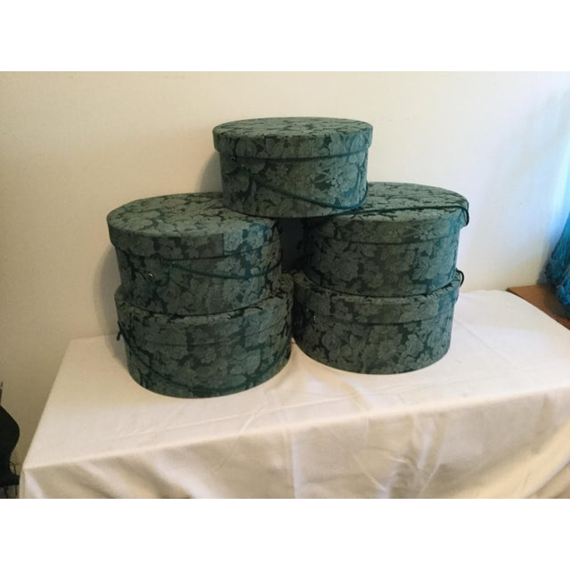 Vintage Fabric Covered Hat Boxes For Sale - Image 4 of 12
