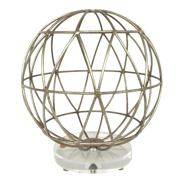 Modern Geometric Silver Finished Metal Sphere Sculpture on Acrylic For Sale
