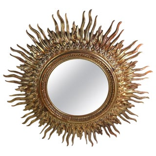 Large Decorative Sunburst Starburst Mirror With Cast Plastic Frame For Sale
