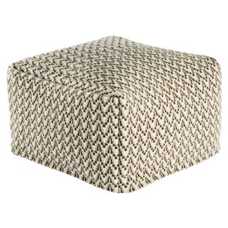 Jaipur Living Malmo Gray/ White Geometric Square Pouf For Sale
